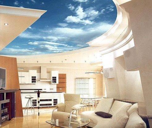 მისაღები ოთახის დიზაინი.ფრანგული გადაჭიმული ჭერი მოგვაგონებს ღრუბლიან ცას.