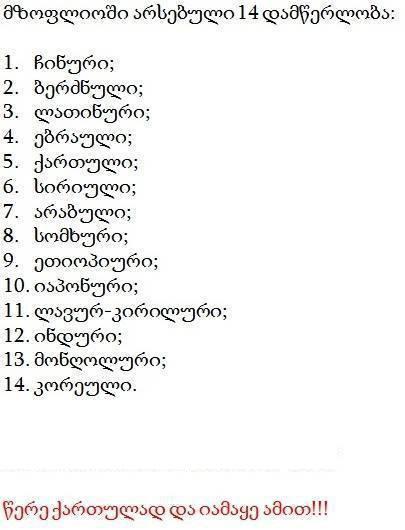 მსოფლიოში არსებული 14 დამწერლობა