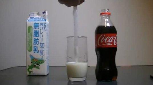 კოკა-კოლისა და რძის შერევით მიღებული შედეგი იხილეთ ვიდეოში