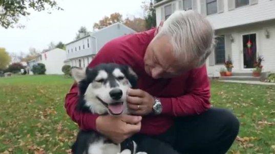 ეს ძაღლი ცხოვრებში პირველად განიცდის სიხარულს სირბილისგან .